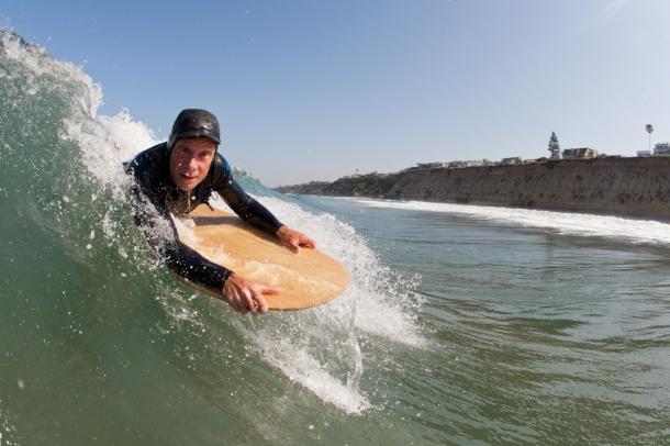 Jon Wegener Surfing Wooden Paipo Bellyboard