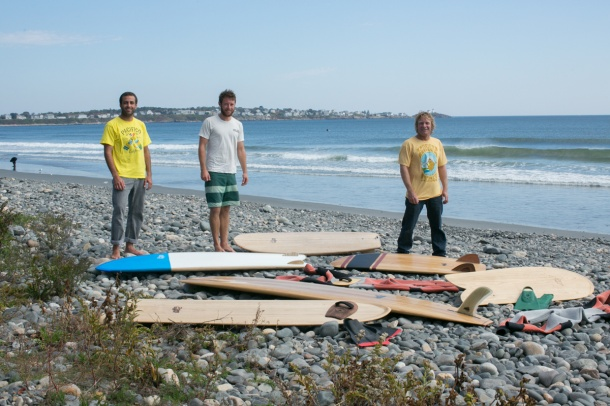 Wegener and Friends Surfing Wooden Paipos