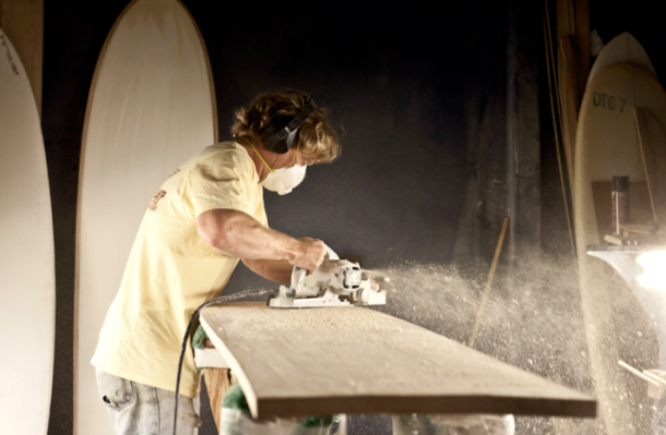 Jon Wegener Shaping Wooden Alaia in his Barn